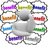 Benefit Thought Clouds — Stock Photo