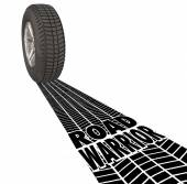 Road Warrior Tire Track Words — Stock Photo