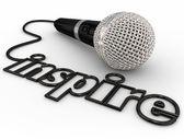 Inspire Microphone Word — Stock Photo