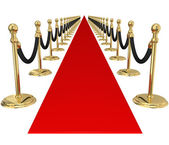 Red Carpet Gold Stanchions — Stock Photo