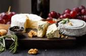 Cheese plate  served with wine, gam and honey — Stock Photo