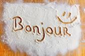 Words in flour — Stockfoto