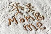 Words in flour — Zdjęcie stockowe