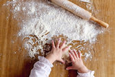 Hands and flour — Stock Photo