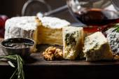 Plate of french cheeses — Stock Photo