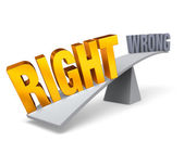 Right Weighs In Against Wrong — Stock Photo