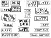 Distressed Late, Past Due, and Final Notice Stamps — Stock Photo