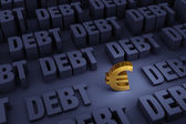 Euro Surrounded By Rising Debt — Stock Photo