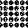 Graphic Black and White Alphabet from Vintage Typewriter Keys — Stock Photo #70019615