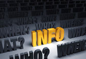 Gold Info Surrounded By Questions — Stock Photo