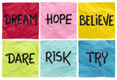 Dream, believe, risk, try — Stock Photo
