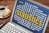 Statistics word cloud on laptop — Stock Photo