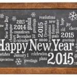 Happy New Year 2015 on blackboard — Stock Photo #52602849