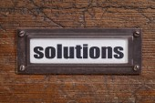 Solutions - file cabinet label — Stock Photo