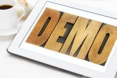 Demo word on tablet — Stock Photo