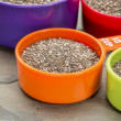 Chia seeds in measuring cups — Stock Photo