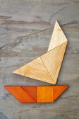 Abstract yacht from tangram puzzle — Stok fotoğraf