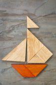 Tangram sailboat abstract — Stock Photo