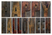 Happy Halloween in wood type — Stock Photo