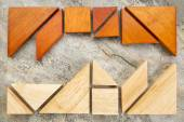Two sets of tangream puzzle — Stock Photo