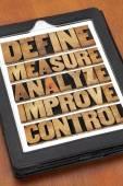 Definire, misurare, analizzare, migliorare, controllare — Foto Stock
