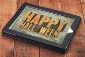 Happy Halloween  on a tablet — Stock Photo