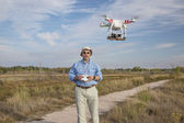 Flying quadcopter drone — Stock Photo
