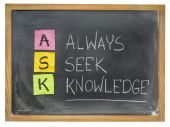 Always seek knowledge - ASK — Stock Photo