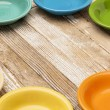 Old wood and color bowls — Stock Photo #55110123