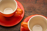 Two stoneware coffee cups — Stock Photo