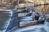 Old river dam on Poudre River — Stock Photo
