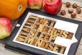 Diet, sleep, exercise and mindset - vitality — Stock Photo
