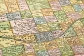 Nebraska on a vintage map — Stock Photo