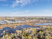 Aerial view of lake and swamp — Stock Photo