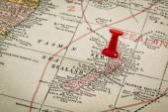 New Zealand on vintage map — Stock Photo