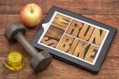 Run, bike, swim - fitness concept — Stock Photo