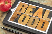 Real food in wood type — Stock Photo