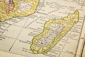 Madagascar on vintage map — Stock Photo