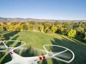 Drone flying over park — Stock Photo