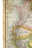 Colombia and Ecuador on vintage map — Stock Photo