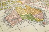 Australia on a vintage map — Stock Photo