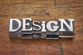 Design word in metal type — Stock Photo