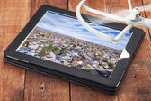 Reviewing aerial pictures — Stock Photo