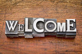 Welcome word in metal type — Stock Photo