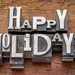Happy Holidays in metal type — Stock Photo #58984001