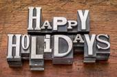 Happy Holidays in metal type — Stock Photo