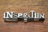 Inspiration word in metal type — Stock Photo