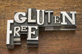 Gluten free words in metal type — Stock Photo
