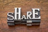 Share word in metal type — Stock Photo