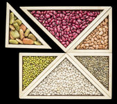 Bean and lentil  tangram abstract — Stock Photo